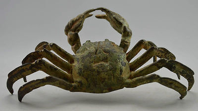 Collectible Vintage Old Handwork Bronze Carved Crab 8 Side Bring Money Statues