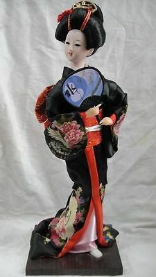 Oriental Broider Doll Old style figurine embroidery doll/black Japanese Girl