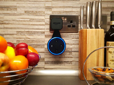BLACK Amazon Echo Dot Mount - Cover - Samotech ABS Power socket wall mount