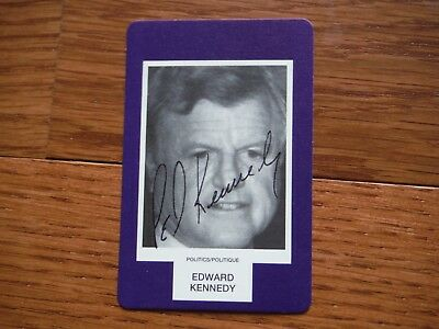 Edward Ted Kennedy Autographed Face Card Hand Signed Senator Massachusetts
