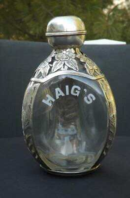 Haig's Sterling Silver Pinched Floral Decanter Marked Sterling 925