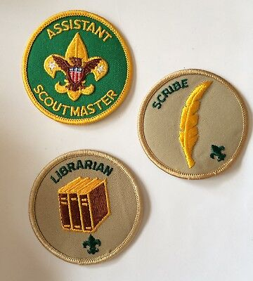 Boy Scouts BSA Patches Lot of 3 Assistant Scoutmaster Librarian Scribe Vintage