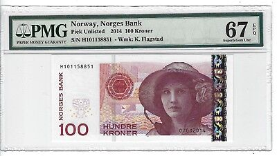 P-UNLISTED 2014 100 Kroner, Norway, Norges Bank,  PMG 67EPQ SUPERB