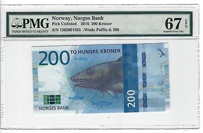 P-UNLISTED 2016 200 Kroner, Norway, Norges Bank,  PMG 67EPQ SUPERB!