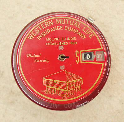 Vintage Western Mutual Life Insurance Co. Coin Add-O-Bank - Moline, IL Illinois