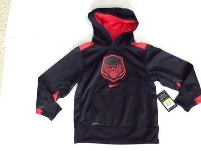 Boys Nike Hoodie Size S Nwt $40 Black&red Dri-Fit Skull In Helmet