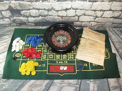 Vintage Mini Roulette Wheel Rottgames NY Layout Felt Board and Ball