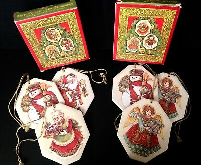 "Lot of 2 Vintage Avon ""Three Fragrant Tree Trimmings"" - Santa, Angels & Snowmen"