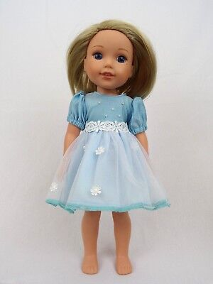 "Blue Spring Flower Dress Fits Wellie Wishers 14.5"" American Girl Clothes"