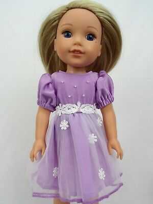 """Lavender Spring Flower Dress Fits Wellie Wishers 14.5"""" American Girl Clothes"""