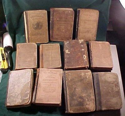 Lot of 11 Old Math Arithmetic School Text Books from 1800's Antique School House