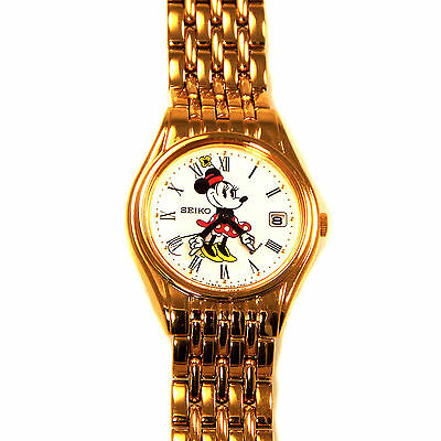 Minnie Mouse Lady Seiko Watch Unworn Date, Easy Read Dial, Arms Point Time! $179