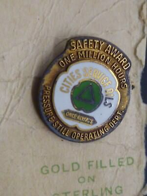 Vintage GF Sterling Cities Service Citgo Gas Oil Safety Award Pin Million Hours