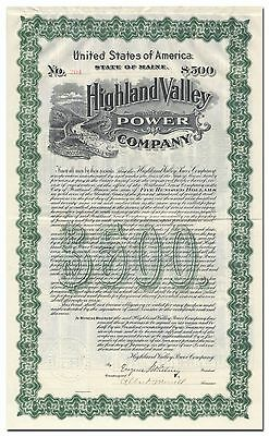 Highland Valley Power Company Bond Certificate (Maine)