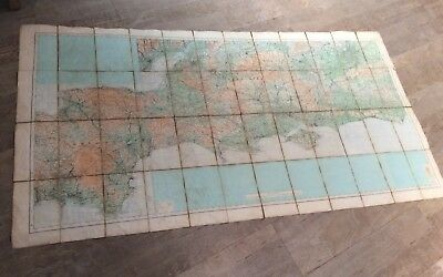 Vintage Large Map Of The South Coast On Cloth