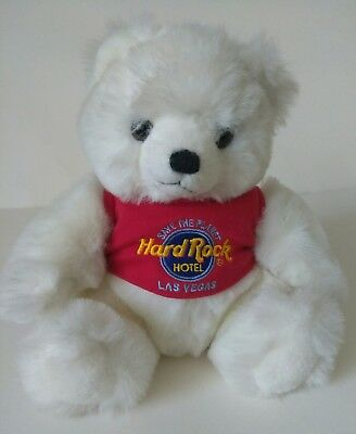 "Used 9"" Hard Rock Hotel Las Vegas Bear, Stuffed/Plush, White"