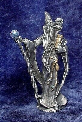 Pewter WIZARD with OWL & Holding Book - Crystals