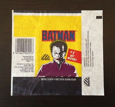 1989 Regina NZ Batman (The Movie) - Wax Pack Wrapper (The Joker Variation)
