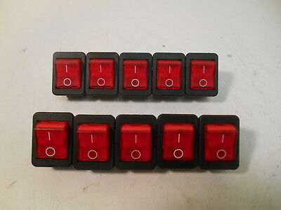 (10) New Arcolectric C1353AB0/1RED Red Rocker Switches