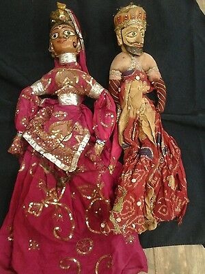 Antique Indian  couple Puppet Handmade String Cloth with Wooden Head Very Old