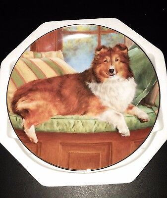 Luxury Seat Sheltie Dog Plate by The Danbury Mint Shetland Sheepdog