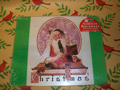 """Norman Rockwell Santa & Expense Book Tempered Glass 9.75""""Lx7.75""""H Serving Board"""