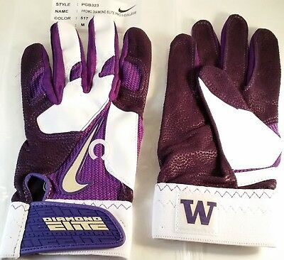 Nike Diamond Elite Pro Ii Ncaa Washington Huskies Baseball Batting Gloves, M