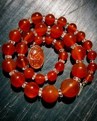 Amazing WL ANTIQUE ESTATE WALTER LAMPL CARVED Carnelian NECKLACE sterling silver
