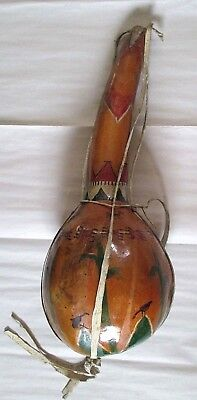 Antique Large Painted Native American Indian Gourd W/ Horses Crows Corn & More