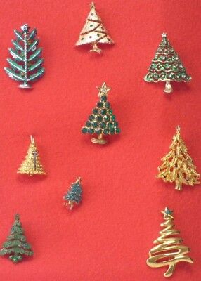 Great Lot Of 9 Vintage To Modern Christmas Tree Pins & Brooches - Nice Condition