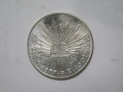 Mexico 1877 Go Fr 8 Reales Cap Rays Silver Guanajuato World Coin Collection Lot