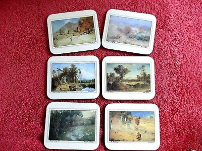 Vintage  Set  6 Cork-Back   Jason  Coasters  Australian  Landscapes