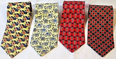 4 x TIE RACK SILK TIES - ALL BEAUFORT RANGE HAND MADE 100% SILK MADE IN ITALY