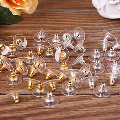 200 x Earring Backs Stoppers Findings Ear Post Nuts Jewelry Findings Gold/Silver