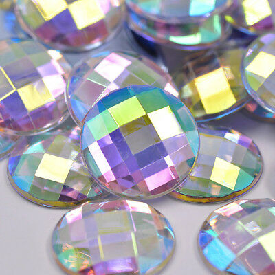 Round Crystal AB Rhinestones Flat Back Acrylic Crystal - Glue ON