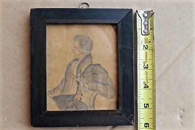 1830s Primitive Pencil Drawing Of Gentleman By Artist J M Crawley In Early Frame