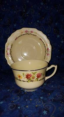 """Vintage W S George """"Canarytone"""" Cup & Saucer; Silver Trim; Numbered; USA"""
