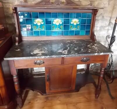 Antique oak Art Nouveau WASH STAND Turquoise blue majolica tiles marble top