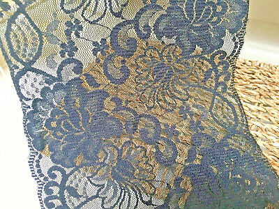 """Beautiful Superb Quality 6""""/15 cm Black Flat Galloon Lace Trim.Sewing/Lingerie"""
