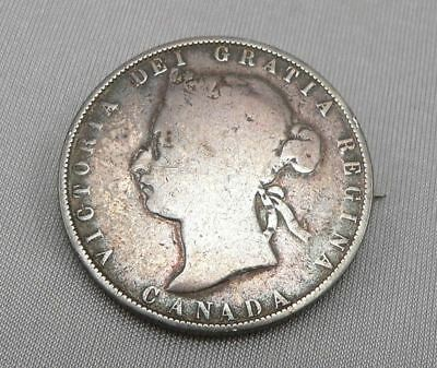 1870 CANADIAN $0.50 50 Fifty Cent CANADA COIN Victoria MADE INTO a PIN Brooch