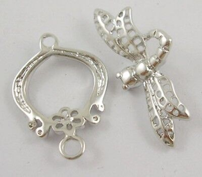 5 x Dragonfly Toggle Clasp Sets,  15x24mm with loop for charm , Tbar: 25mm