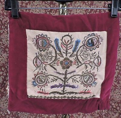 Antique 18Th C Polychrome Silk Embroidered Textile W Velvet Border