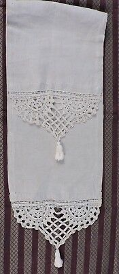 Victorian Hand Made Linen & Lace Table Runner W Lace Tassel Ends
