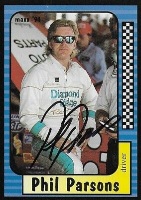 Phil Parsons Autographed Signed 1991 Maxx Racing Nascar Photo Trading Card #97