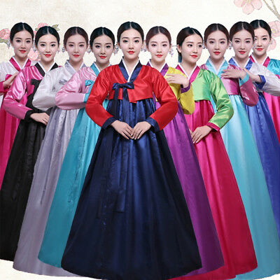 Womens Korean Traditional Hanbok Long Sleeve Ethnic Dance Korean Hanbok Dress