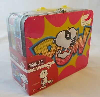 Snoopy / Peanuts - Puzzle in Lunch Box Brotdose Koffer Dose mit Henkel / Griff