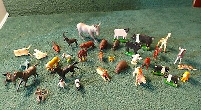 Lot of  31 Plastic Wooden Toy Animals people horses etc.Vintage & Modern