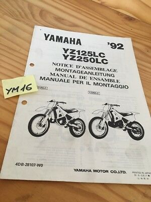 Yamaha YZ125LC YZ250LC 1992 YZ LC instruction preparation setup manuel montage