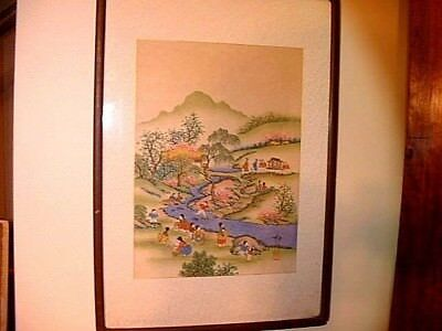 Large Antique Japanese / Chinese Colored Woodblock Print