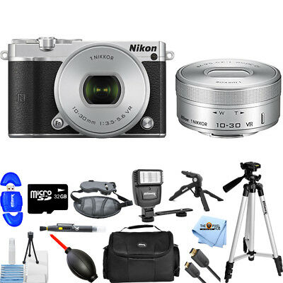 Nikon 1 J5 Mirrorless Digital Camera with 10-30mm Lens (Silver) PRO BUNDLE NEW
